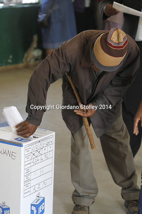 NKANDLA - 7 May 2014 - A pensioner casts his vote at Ntolwane Primary School in Nkandla, which is the same polling station where South African President Jacob Zuma was expected to cast his vote. Picture: Allied Picture Press/APP