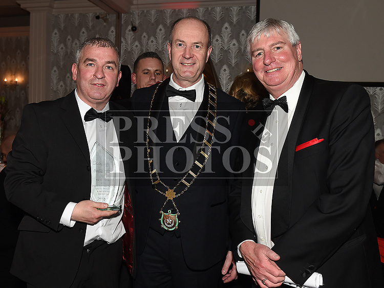 Ronan Phillips and Mayor of Drogheda Pio Smith with Michael Lester at the Drogheda Independent Sports Star Awards in the Westcourt Hotel.  Photo:Colin Bell/pressphotos.ie
