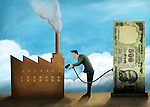 Illustrative image of businessman refueling factory with money representing investment