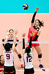 Wing spiker Xiaotong Liu of China (R) spikes the ball during the FIVB Volleyball World Grand Prix match between China vs Japan on July 21, 2017 in Hong Kong, China. Photo by Marcio Rodrigo Machado / Power Sport Images