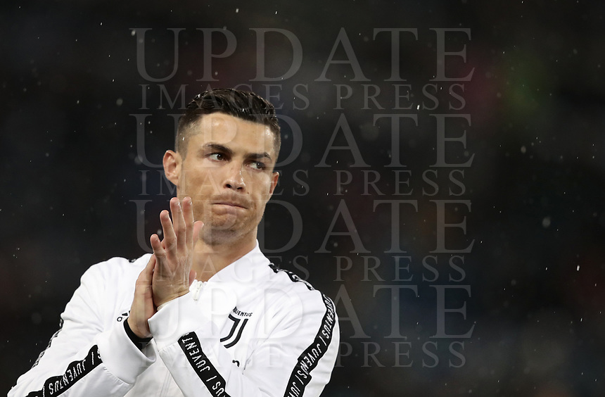 Football, Serie A: S.S. Lazio - Juventus, Olympic stadium, Rome, January 27, 2019. <br /> Juventus' Cristiano Ronaldo claps hands prior to the Italian Serie A football match between S.S. Lazio and Juventus at Rome's Olympic stadium, Rome on January 27, 2019.<br /> UPDATE IMAGES PRESS/Isabella Bonotto