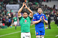 (L-R) Bundee Aki of Ireland and Paul Gabrillagues of France following the RBS Six Nations match between France and Ireland at Stade de France on February 3, 2018 in Paris, France. (Photo by Dave Winter/Icon Sport)
