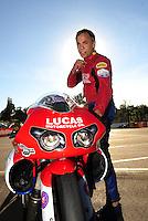 Nov 14, 2010; Pomona, CA, USA; NHRA pro stock motorcycle rider Hector Arana during the Auto Club Finals at Auto Club Raceway at Pomona. Mandatory Credit: Mark J. Rebilas-