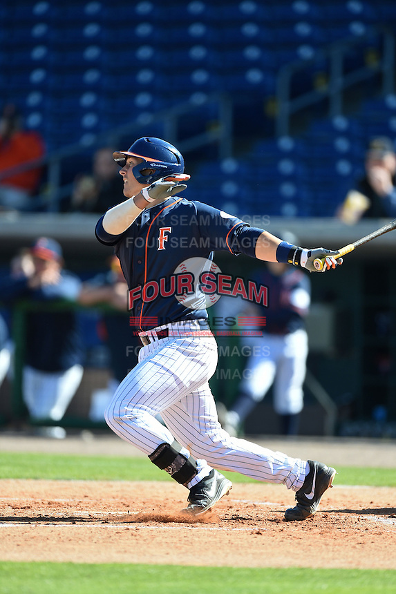 Cal State Fullerton Titans catcher Chris Hudgins (24) at bat during a game against the Alabama State Hornets on February 14, 2015 at Bright House Field in Clearwater, Florida.  Alabama State defeated Cal State Fullerton 3-2.  (Mike Janes/Four Seam Images)
