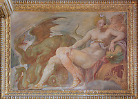 Fresco of Diana riding a chariot pulled by dragons, painted c. 1552 by Niccolo dell'Abatte after drawings by Primaticcio, in the window recesses of the Ballroom or Galerie Henri II, Chateau de Fontainebleau, France. The Palace of Fontainebleau is one of the largest French royal palaces and was begun in the early 16th century for Francois I. It was listed as a UNESCO World Heritage Site in 1981. Picture by Manuel Cohen
