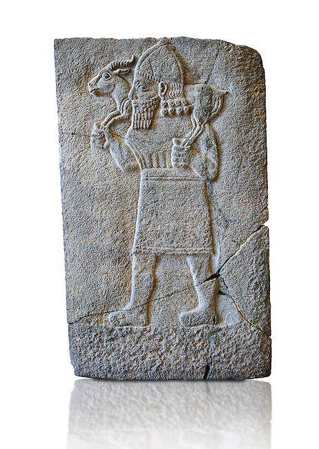 Relief panels orthostat showing a man with a gazelle on the shoulders excavated from the Northern Hall at  Sam'al / Zincirli, Turkey. Vorderasiatisches Museum, Pergamon Museum, Berlin inv no  VA3007