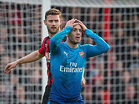 Jack Wilshere of Arsenal reaction after a missed opportunity during the Premier League match between Bournemouth and Arsenal at the Goldsands Stadium, Bournemouth, England on 14 January 2018. Photo by Andy Rowland.