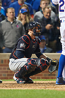 Cleveland Indians catcher Yan Gomes (10) in the eighth inning during Game 3 of the Major League Baseball World Series against the Chicago Cubs on October 28, 2016 at Wrigley Field in Chicago, Illinois.  (Mike Janes/Four Seam Images)