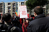 Rome April 6th 2019. Counterdemonstration of activists from the anti-fascist movements in the Torre Maura district of Rome, two days after Rome residents and neo-fascists burned bins and shouted racist slogans at Roma families being temporarily hosted in their neighbourhood. <br /> photo di Samantha Zucchi/Insidefoto