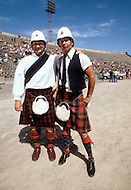 San Francisco, CA - August, 1982<br /> Two &ldquo;representatives&lsquo; of the Scottish team are dressed in kilts at the Gay Olympic Games. The official US Olympic committee later sued the organizers of the event to change the name to simple &lsquo;Gay Games&rsquo;.<br /> San Francisco, Californie. August 1982. <br /> Les premiers jeux Olympiques gays : Les &ldquo;repr&eacute;sentants&ldquo; de l&rsquo;&eacute;quipe Ecossaise ont tenu &agrave; rester en kilt. Appel&eacute;s d&rsquo;abord &ldquo;les Jeux Olympiques Gays&ldquo;, ils devront changer leur nom pour &ldquo;les Jeux Gays&ldquo;.
