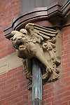 A gargoyle on a drain pipe in Beacon Hill in Boston, MA.