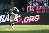 Chivas USA goalkeeper Brad Guzan (18) looking down field. CD Chivas USA beat Real Salt Lake 1-0 in a MLS game at the Home Depot Center in Carson, California, Sunday, August 26, 2007.
