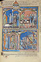 """(Up) A Plea for Help: As Saul drives oxen in from the fields, he is met by anguished messengers from Jabesh-Gilead. Nahash the Ammonite has encamped outside the city and threatened to gouge out the right eye of every inhabitant. The king, enraged, slaughters two oxen and cuts them into pieces. The pieces are sent throughout Israel with a message: either follow Saul and Samuel into battle or expect the same to be done to your oxen. (1 Samuel 11:1ñ7); (Down) Marshaling Forces: Saul, crowned, bearing a scepter, and seated on an ivory throne, greets the warriors of Israel. The foremost kneel before the king and pledge their fealty. A standard bearer rides along in a supply cart. Behind Saul, a royal attendant assures a messenger from Jabesh-Gilead that help is at hand. (1 Samuel 11:7ñ9). Excerpt of the first edition of the """"Crusader Bible"""", 13th century manuscript kept in the Pierpont Morgan Library in New York, on natural parchment made of animal skin published by Scriptorium SL in Valencia, Spain. © Scriptorium / Manuel Cohen"""