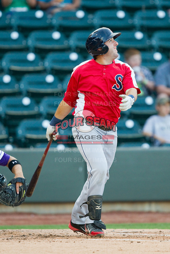 Matt Gedman (44) of the Salem Red Sox follows through on his swing against the Winston-Salem Dash at BB&T Ballpark on August 15, 2013 in Winston-Salem, North Carolina.  The Red Sox defeated the Dash 2-1.  (Brian Westerholt/Four Seam Images)
