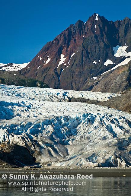Riggs Glacier, Muir Inlet, Glacier Bay National Park & Preservre, SE Alaska on a sunny day, summer.