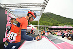 Vincenzo Nibali (ITA) Bahrain-Merida at sign on before Stage 17 of the 2019 Giro d'Italia, running 181km from Commezzadura (Val di Sole) to Anterselva / Antholz, Italy. 29th May 2019<br /> Picture: Massimo Paolone/LaPresse | Cyclefile<br /> <br /> All photos usage must carry mandatory copyright credit (© Cyclefile | Massimo Paolone/LaPresse)
