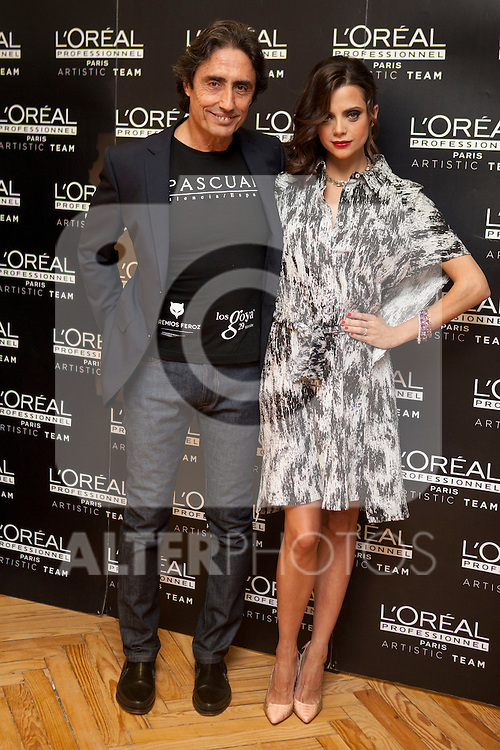 Spanish actress Macarena Gomez and Pascual Segura poses for photographers during a presentation for a sponsor of the Goya Awards with hairdressers and Makeup artist at Academia de Cinema in Madrid January 14, 2015, Spain. (ALTERPHOTOS / Nacho Lopez)