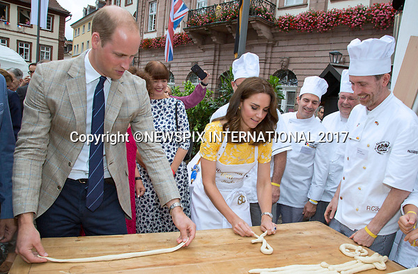 &ldquo;UK 28 Days Out&rdquo;<br />20.07.2017; Berlin, Germany: DUKE &amp; DUCHESS OF CAMBRIDGE<br />visit a local market in Heidelberg where they made pretzels and sweets for Prince George and Princess Charlotte.<br />Mandatory Photo Credit: &copy;Francis Dias/NEWSPIX INTERNATIONAL<br /><br />IMMEDIATE CONFIRMATION OF USAGE REQUIRED:<br />Newspix International, 31 Chinnery Hill, Bishop's Stortford, ENGLAND CM23 3PS<br />Tel:+441279 324672  ; Fax: +441279656877<br />Mobile:  07775681153<br />e-mail: info@newspixinternational.co.uk<br />Usage Implies Acceptance of OUr Terms &amp; Conditions<br />Please refer to usage terms. All Fees Payable To Newspix International