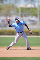 Tampa Bay Rays Jonathan Aranda (96) warms up before a Minor League Spring Training game against the Minnesota Twins on March 17, 2018 at CenturyLink Sports Complex in Fort Myers, Florida.  (Mike Janes/Four Seam Images)