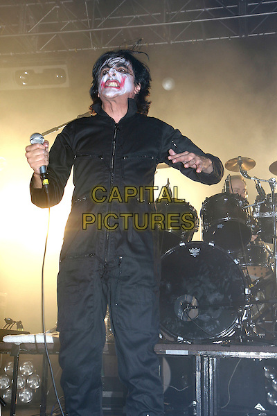 KILLING JOKE .Live in concert at The London Forum, Kentish Town, London, England, October 3rd 2008..gig performing on stage half length black face painted the joker band group music 3/4  .CAP/MAR.©Martin Harris/Capital Pictures