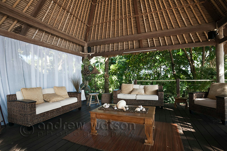 Balinese style hut at Double Island Resort.   Palm Cove, Cairns, Queensland, Australia