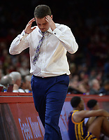 NWA Democrat-Gazette/ANDY SHUPE<br /> LSU coach Will Wade reacts to a foul call during play against Arkansas Friday, Jan. 11, 2019, during the first half of play in Bud Walton Arena in Fayetteville. Visit nwadg.com/photos to see more photographs from the game.