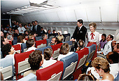 United States President Ronald Reagan and first lady Nancy Reagan welcome the released hostages from TWA Flight 847 at Andrews Air Force Base in Maryland on Tuesday, July 2, 1985<br /> Mandatory Credit: Bill Fitz-Patrick - White House via CNP