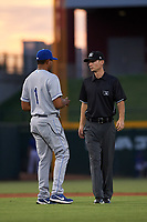 AZL Royals manager Tony Pena Jr. (1) argues with umpire Michael Corbett during an Arizona League game against the AZL Cubs 1 on June 30, 2019 at Sloan Park in Mesa, Arizona. AZL Royals defeated the AZL Cubs 1 9-5. (Zachary Lucy/Four Seam Images)