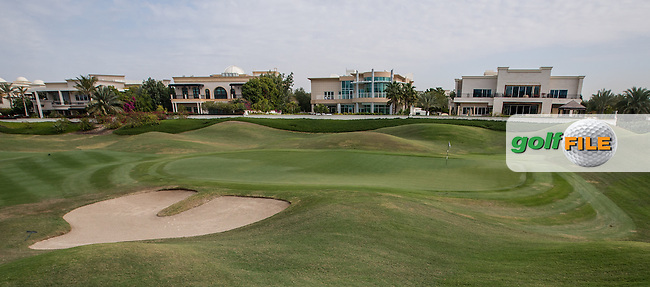 The 5th green at The Address Montgomerie Golf Club, Dubai, United Arab Emirates.  27/01/2016. Picture: Golffile | David Lloyd<br /> <br /> All photos usage must carry mandatory copyright credit (&copy; Golffile | David Lloyd)
