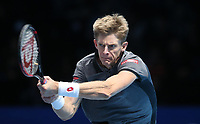 Kevin Anderson of South Africa in action during his match against Dominic Thiem of Austria <br /> <br /> Photographer Rob Newell/CameraSport<br /> <br /> International Tennis - Nitto ATP World Tour Finals Day 1 - O2 Arena - London - Sunday 11th November 2018<br /> <br /> World Copyright &copy; 2018 CameraSport. All rights reserved. 43 Linden Ave. Countesthorpe. Leicester. England. LE8 5PG - Tel: +44 (0) 116 277 4147 - admin@camerasport.com - www.camerasport.com