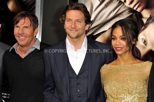 WWW.ACEPIXS.COM....September 4 2012, LA....Actors Dennis Quaid, Bradley Cooper  and Zoe Saldana arriving at the Premiere Of CBS Films' 'The Words' at the ArcLight Cinemas on September 4, 2012 in Hollywood, California.......By Line: Peter West/ACE Pictures......ACE Pictures, Inc...tel: 646 769 0430..Email: info@acepixs.com..www.acepixs.com