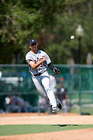 Detroit Tigers Danny Pinero (34) throws to first base during an Instructional League game against the Atlanta Braves on October 10, 2017 at the ESPN Wide World of Sports Complex in Orlando, Florida.  (Mike Janes/Four Seam Images)