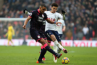 Mathias Zanka Jørgensen of Huddersfield Town and Dele Alli of Tottenham Hotspur during Tottenham Hotspur vs Huddersfield Town, Premier League Football at Wembley Stadium on 3rd March 2018