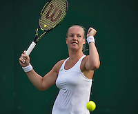 London, England, 27 june, 2016, Tennis, Wimbledon, Kiki Bertens (NED) celebrates match point during her match against Jelena Ostapenko (LAT)<br /> Photo: Henk Koster/tennisimages.com
