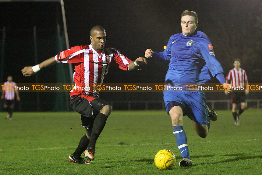 Reiss Noel in action for Hornchurch - AFC Hornchurch vs Harrow Borough - Ryman League Premier Division Football at The Stadium, Upminster Bridge - 10/01/12 - MANDATORY CREDIT: Gavin Ellis/TGSPHOTO - Self billing applies where appropriate - 0845 094 6026 - contact@tgsphoto.co.uk - NO UNPAID USE.