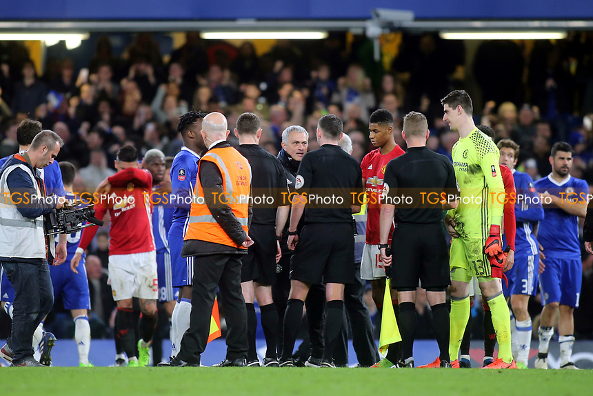 Manchester United Manager, Jose Mourinho. headed straight towards referee, Michael Oliver, at the final whistle to vent his anger during Chelsea vs Manchester United, Emirates FA Cup Football at Stamford Bridge on 13th March 2017