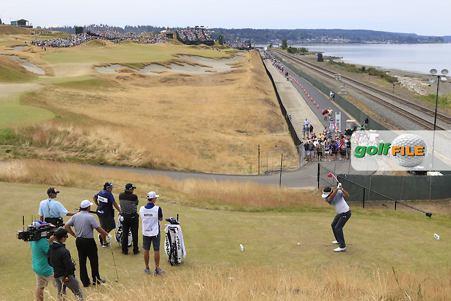 Bubba Watson (USA) tees off the 16th tee during Thursday's Round 1 of the 2015 U.S. Open 115th National Championship held at Chambers Bay, Seattle, Washington, USA. 6/18/2015.<br /> Picture: Golffile | Eoin Clarke<br /> <br /> <br /> <br /> <br /> All photo usage must carry mandatory copyright credit (&copy; Golffile | Eoin Clarke)