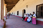 La Purisima Mission in Lompoc, California.  Mision La Purisima Concepcion de Maria Santisima was founded on December 8, 1787 by Franciscan Padre Presidente Fermin Francisco Lasuen. La Purisima was the eleventh mission of the twenty-one Spanish Missions established in what later became the state of California.  Women dressed in period costume for Purisima People's Day