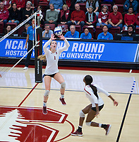 STANFORD, CA - December 1, 2018: Jenna Gray, Tami Alade at Maples Pavilion. The Stanford Cardinal defeated Loyola Marymount 25-20, 25-15, 25-17 in the second round of the NCAA tournament.
