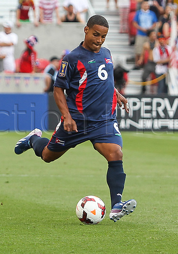 13.07.2013. Sandy, Utah, USA.Cuba defender Joel Colome (6) during the CONCACAF Gold Cup soccer match between USA Men's National team and Cuba at Rio Tinto Stadium in Sandy, UT. USA.