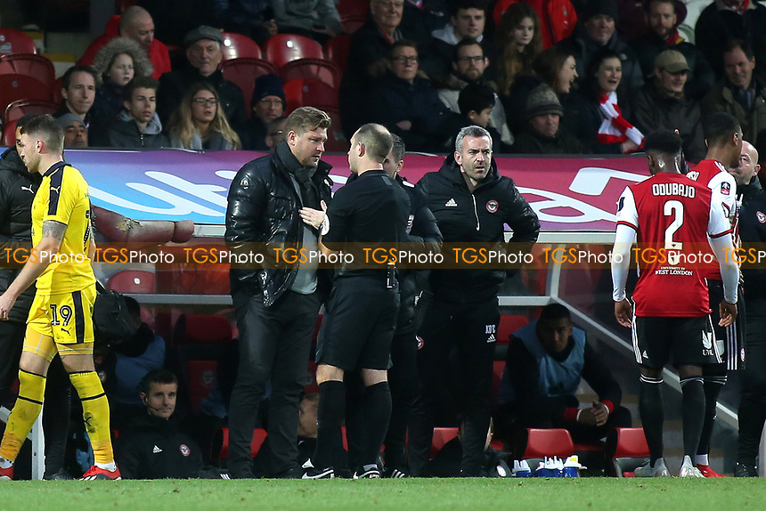 Referee Jeremy Simpson has words with Oxford Manager, Karl Robinson during Brentford vs Oxford United, Emirates FA Cup Football at Griffin Park on 5th January 2019