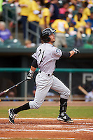 Jackson Generals second baseman Zach Shank (21) at bat during a game against the Montgomery Biscuits on April 29, 2015 at Riverwalk Stadium in Montgomery, Alabama.  Jackson defeated Montgomery 4-3.  (Mike Janes/Four Seam Images)
