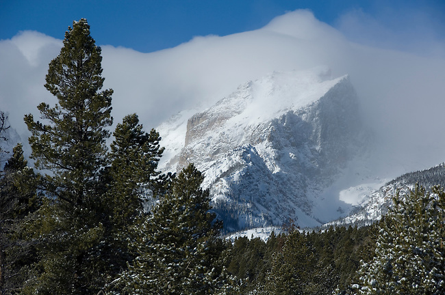 Winter scenic with snowcapped Hallett Peak, morning, Rocky Mountain National Park, Colorado, USA