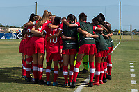 Bradenton, FL - Friday, June 08, 2018: Canada during a U-17 Women's Championship match between the United States and Canada at IMG Academy.  USA defeated Canada 1-0 to take top spot in their group and advance to the semifinals.