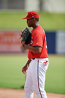 GCL Nationals first baseman Jamori Blash (30) during the first game of a doubleheader against the GCL Mets on July 22, 2017 at The Ballpark of the Palm Beaches in Palm Beach, Florida.  GCL Mets defeated the GCL Nationals 1-0 in a seven inning game that originally started on July 17th.  (Mike Janes/Four Seam Images)