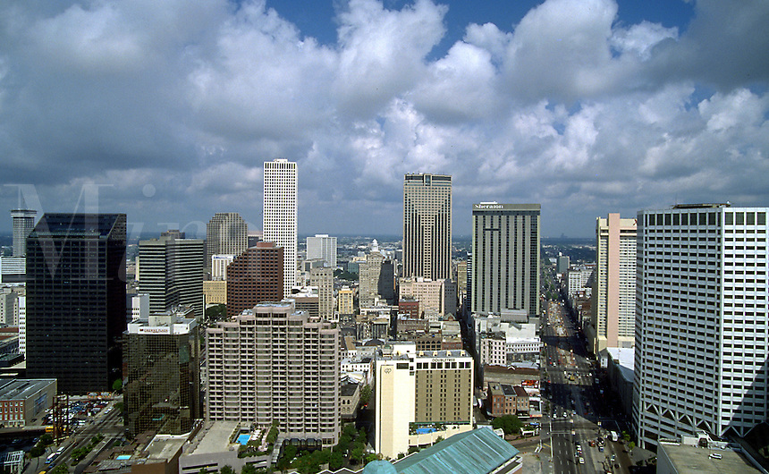 Aerial view of the Central Business District and city of New Orleans skyline. New Orleans, Louisiana.