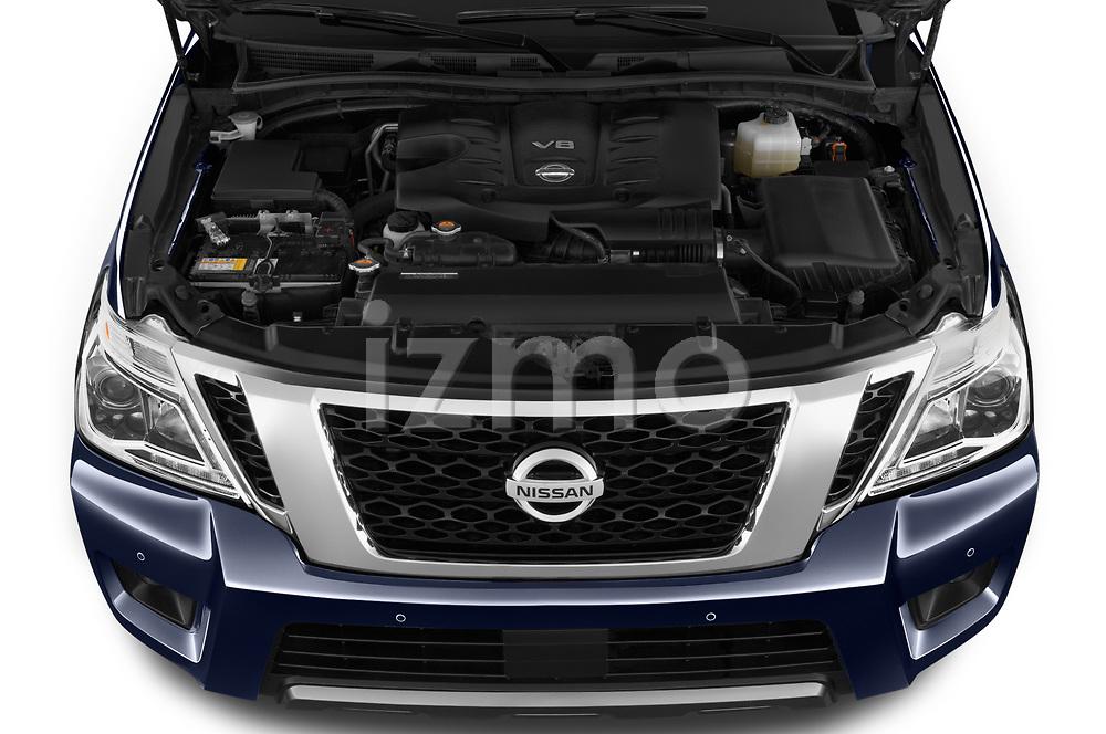 Car stock 2019 Nissan Armada SL 5 Door SUV engine high angle detail view