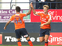 Cameron McGeehan of Luton Town (right) celebrates his first goal with Alan Sheehan during the Sky Bet League 2 match between Luton Town and Doncaster Rovers at Kenilworth Road, Luton, England on 24 September 2016. Photo by Liam Smith.