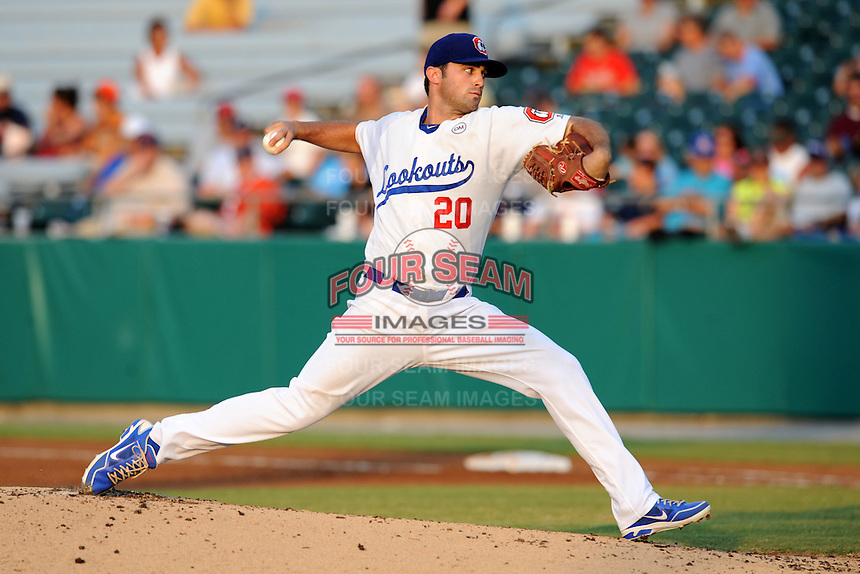 Chattanooga Lookouts pitcher Matt Magill #20 delivers a pitch during the Southern League All-Star Game  at Smokies Park on June 19, 2012 in Kodak, Tennessee.  The South Division defeated the North Division 6-2. (Tony Farlow/Four Seam Images).