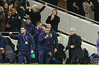 726th November 2019; Tottenham Hotspur Stadium, London, England; UEFA Champions League Football, Tottenham Hotspur versus Olympiacos; Tottenham Hotspur Manager Jose Mourinho celebrates the goal by Serge Aurier of Tottenham Hotspur for 3-2 in the 73rd minute - Editorial Use